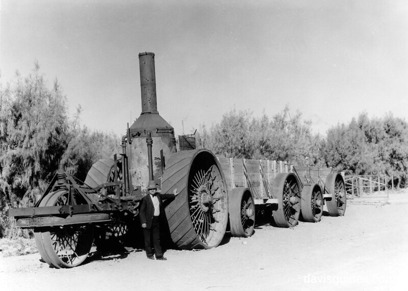 Old steam tractor for hauling borax, Death Valley National Park, 1935.