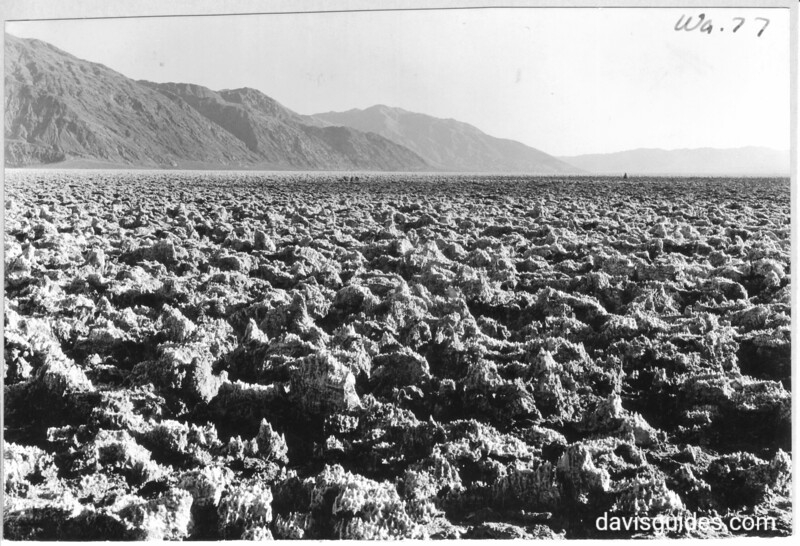 The Devil's Golf Course on the floor of Death Valley. Taken near the Salt Pools. Black Mountains in the distance.  Death Valley National Park, 1935.