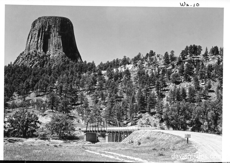 Devils Tower and the bridge across the Belle Fourche River, Devils Tower National Monument, 1933.
