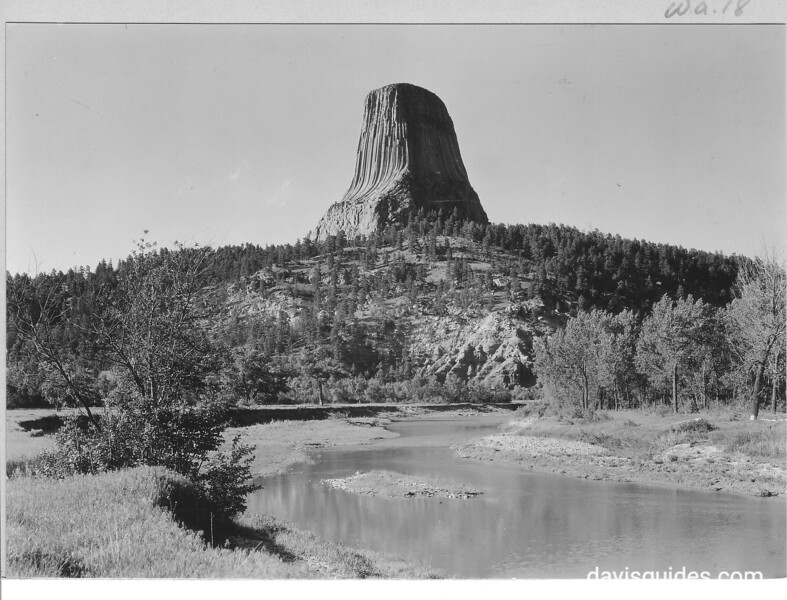 Devils Tower from the south; Belle Fourche River in the foreground. Devils Tower National Monument, 1933.