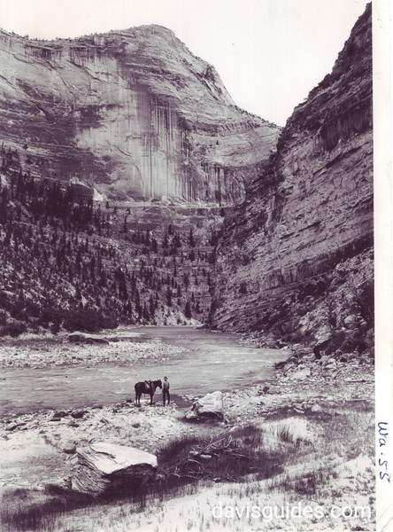 View down the Yampa River Gorge from Warm Springs Bend. Dinosaur National Monument, 1935.