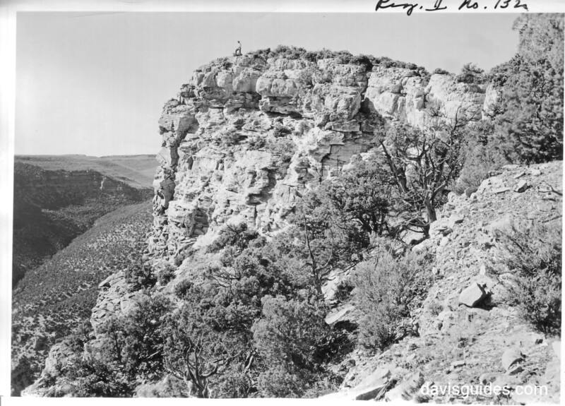 The point of Harper's Corner. The figure is Frank Lombard. Dinosaur National Monument, 1950.