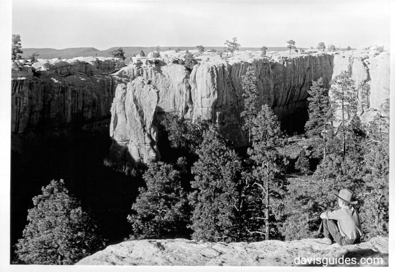 View into the Rincon that enters El Morro from the southwest and separates the two large surface ruins on top. The north surface ruin is on the opposite rock. El Morro National Monument, 1934.