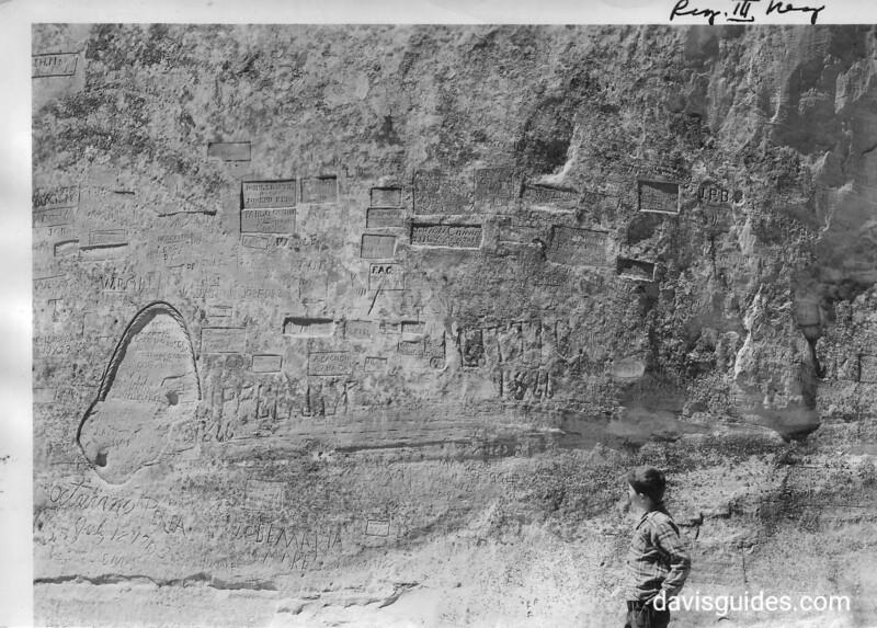 Numerous inscriptions on the northeast corner of Inscription Rock. El Morro National Monument, 1947?