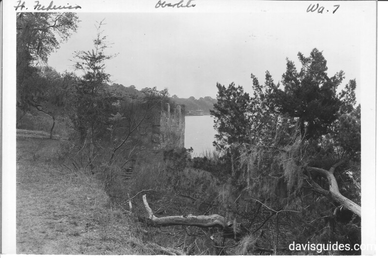 Portions of the original wall of the citadel, facing the Frederica River. Fort Frederica National Monument, 1937.