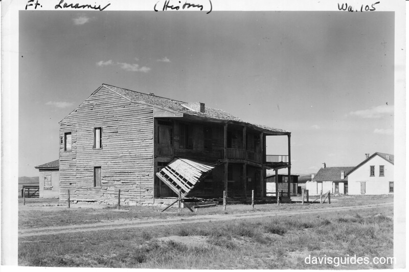 """""""Bedlam"""" stands on west side of parade ground. It was used as quarters for single officers at the post.  Fort Laramie National Historic Site, 1938."""