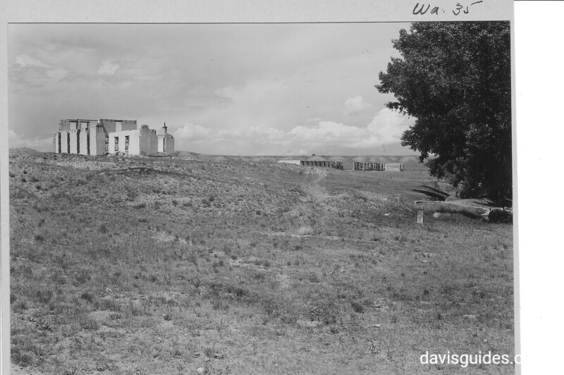 Ruins of the suttler's house and convalescence barracks  I=on the hill north of the main barracks. Fort Laramie National Historic Site, 1932.