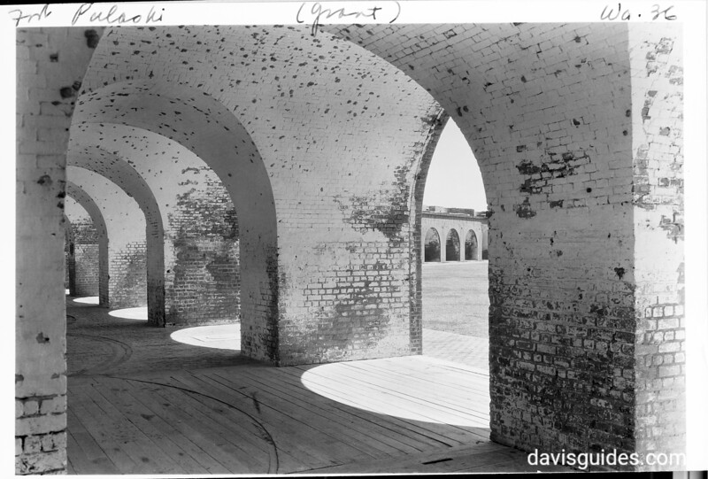 Brick archway within casements of the fort, Fort Pulaski National Monument, 1937.