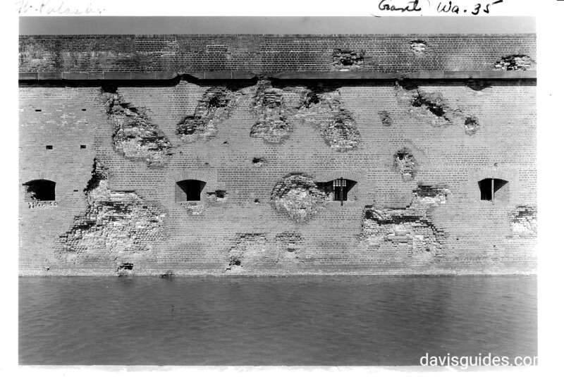 Detail showing damage with some casemates still in wall from the siege of April, 1862. Fort Pulaski National Monument, 1937.