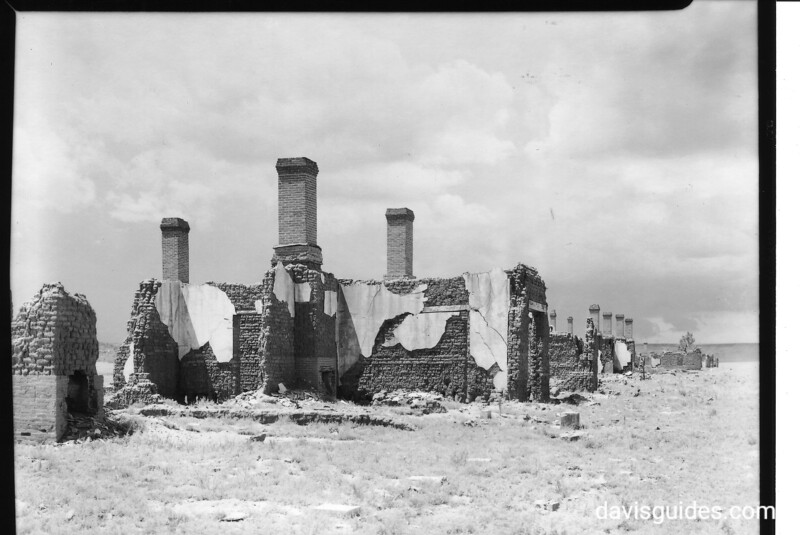 Ruins of officers' quarters on southwest corner of parade ground, Fort Union National Monument, 1939.