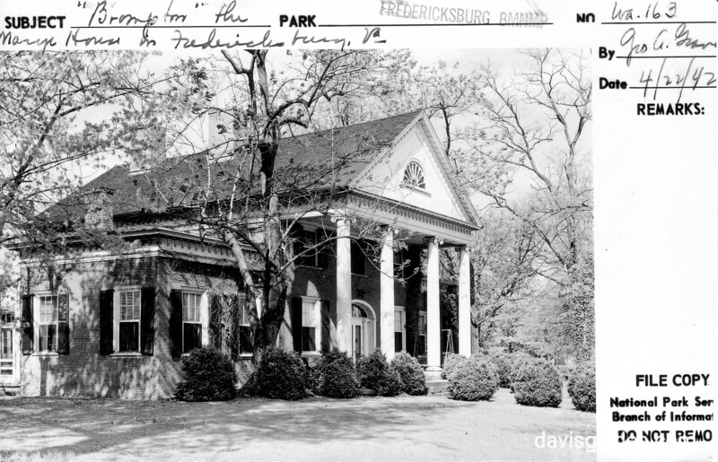"""Brompton"", the Marye's Heights house in Fredericksburg, Virginia. Fredericksburg and Spotsylvania County Battlefields Memorial National Military Park, 1942."
