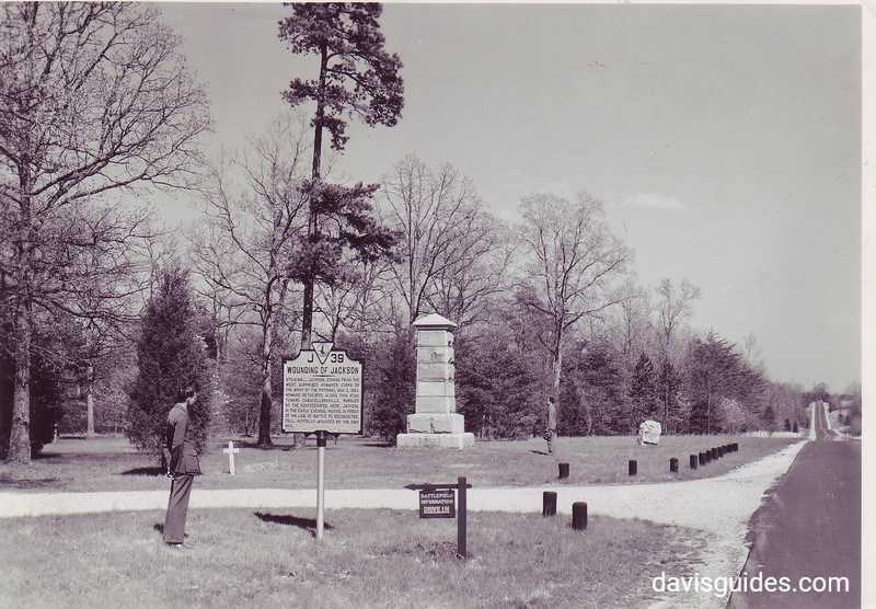 Monument along the main highway near the place where Stonewall Jackson was mortally wounded. Fredericksburg and Spotsylvania County Battlefields Memorial National Military Park, 1942. (The actual wounding site is by the large boulder on the right of the image. The large monument is on the site where he was taken from his horse)