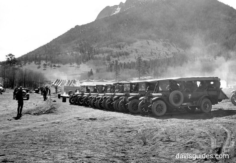 CCC men prepare to travel to work site in tourist buses. Rocky Mountain National Park, 1933.
