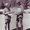 Superintendent David Madsen discussing CCC projects with another park staff member. Lassen Volcanic National Park, 1934.