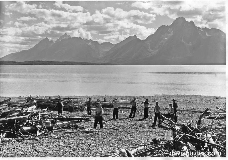 CCC men clearing debris from shores of Jackson Lake. Grand Teton National Park, 1933.
