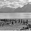 CCC men clearing debris from shores of Jackson Lake. Grand Teton National Park, 1933.