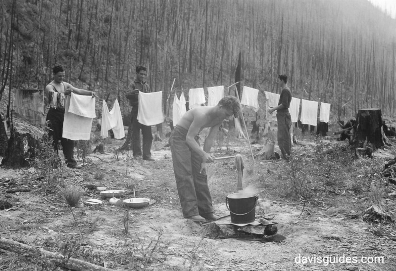 Laundry day in CCC camp. Glacier National Park, 1933.