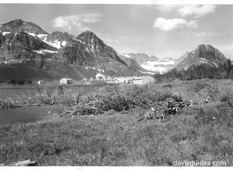 A View of CCC tent camp near Sherburne Lake. Glacier National Park, 1933.