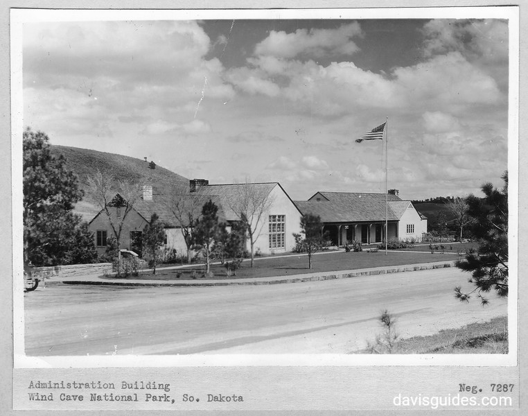 CCC-built visitor center and administration building. Wind Cave National Park, 1936.