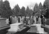 Dignitaries visit the Washington family cemetery near Wakefield in preparation for the George Washington birth Bicentennial (NPS Director Horace Albright is on far left of the photograph). George Washington Birthplace National Monument, 1931.