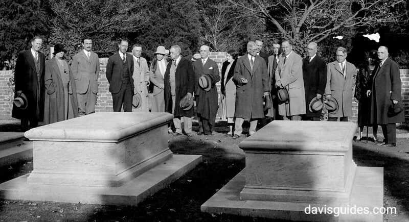 Dignitaries visit the Washington family cemetery in 1931, in planning the Bicentennial of George Washington's birth. NPS Director Horace Albright is on far left). George Washington Birthplace National Monument, 1931.