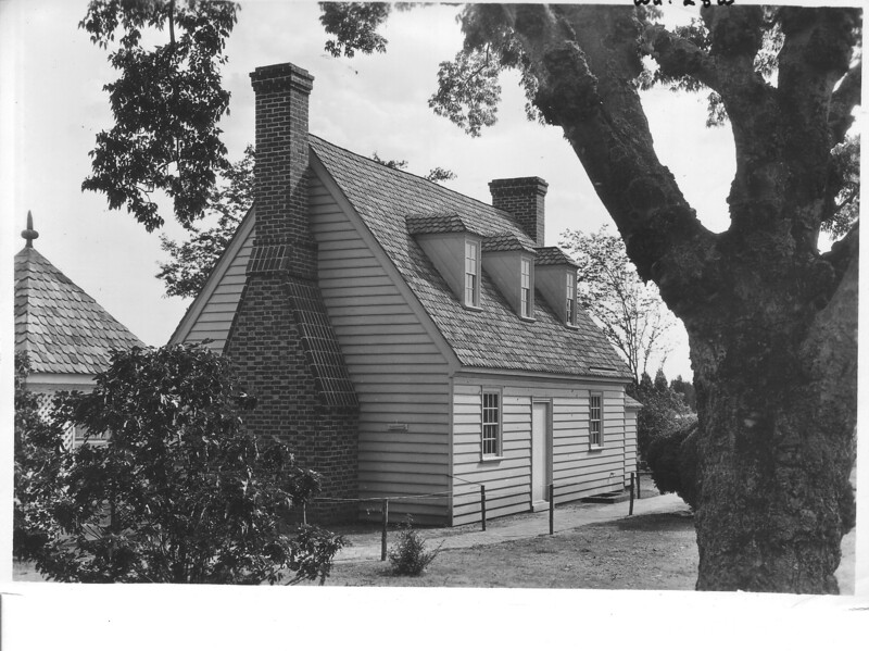 The ancient kitchen as seen from the rear of the mansion under the old huckleberry tree. George Washington Birthplace National Monument, 1932.