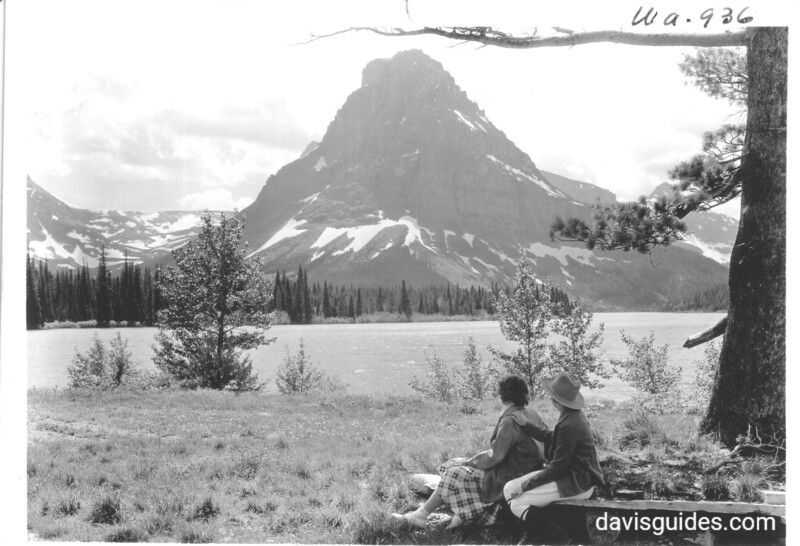 Visitors enjoy view of Mount Rockwell and Two Medicine Lake. Glacier National Park, 1934.
