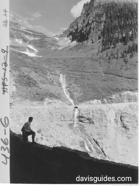 Waterfall and culverts along the new Transmountain Highway (Going to the Sun Road), Lake McDonald side. Glacier National Park, 1932.