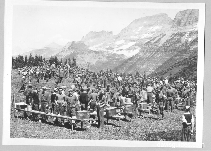 CCC enrollees at lunch in the high country, Glacier National Park, 1933.