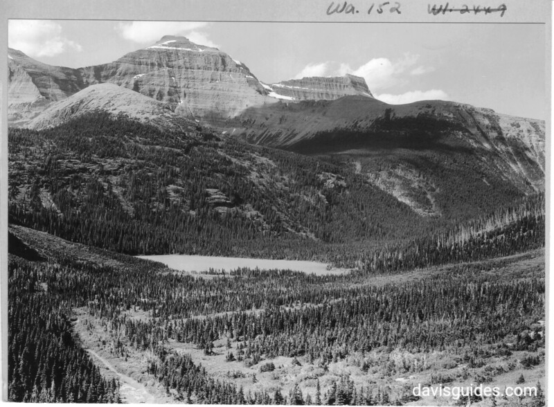Mount Cleveland from near Margaret Lake. The small lake in the foreground is between Margaret and Glenn Lakes.  Glacier National Park, 1932.