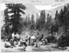 Lunchtime at Piegan Pass. The group includes photographer Tomar Jacob Hileman, during a filming expedition for the Great Northern Railroad. Glacier National Park, 1932.