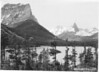 Citadel and Fusilade Mountains, and St. Marys Lake. Glacier National Park, 1941.