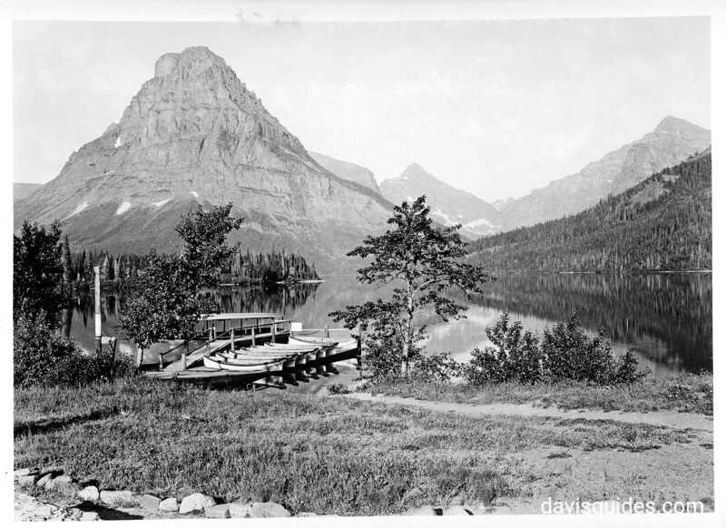 Boat docks at Two Medicine Lake, Glacier National Park, 1932.