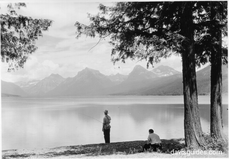Fishing on Lake McDonald, Glacier National Park, 1934.