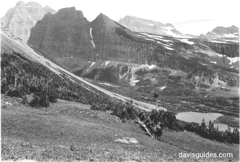 Horse party at Indian Pass, Glacier National Park, 1932.