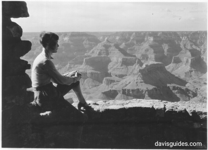 Looking over parapet of Yavapai Museum, toward Isis Temple. Grand Canyon National Park, 1930.