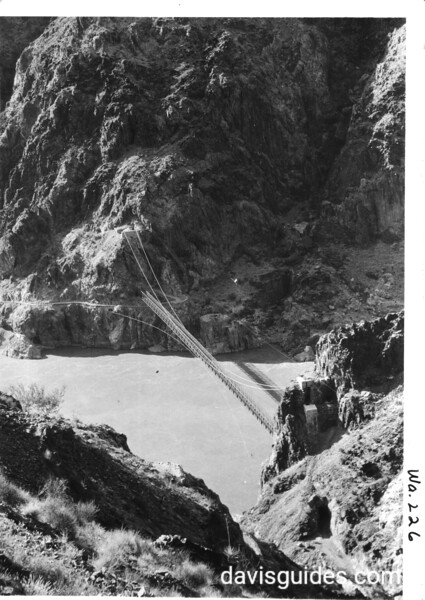 Kaibab Suspension Bridge from trail on the south side. Grand Canyon National Park, 1929.