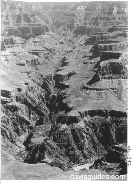 Bright Angel Canyon from Yavapai Musuem. The inner gorge suspension bridge is in lower right and Phantom Ranch is visible on lower left. Grand Canyon National Park, 1930.