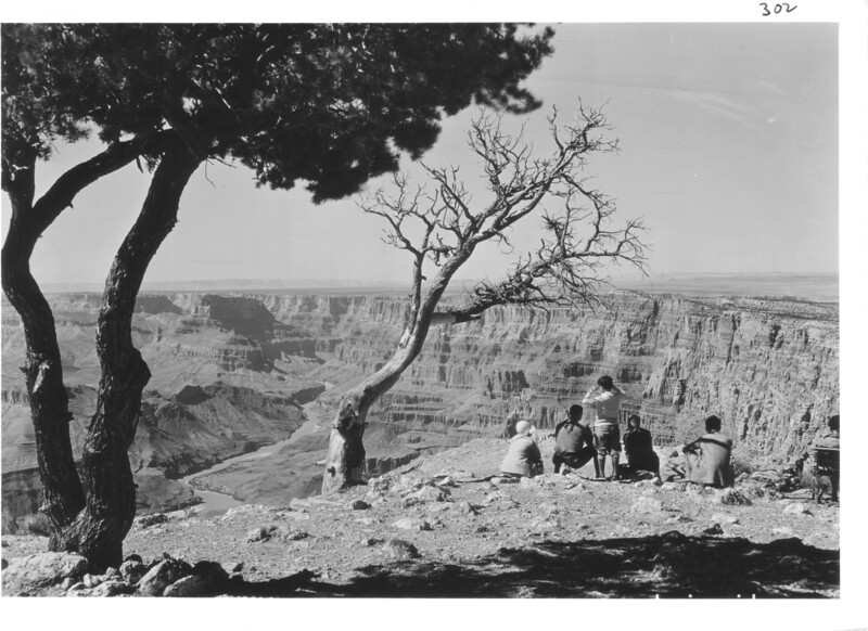 Visitors at Navajo Point near Desert View. Grand Canyon National Park, 1930.