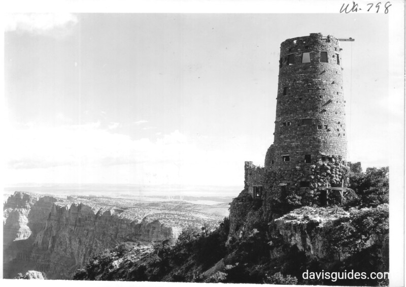 New Fred Harvey  Watch Tower on Desert View Point, now in the process of construction. The view is east toward the Painted Desert. Grand Canyon National Park, 1932.