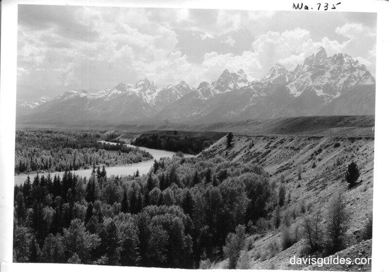 Teton Range from Deadman's Bar on the Snake River. Grand Teton National Park, 1941.