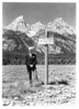 Standing in front of Mount Owen is Mr. William Owen, for whom the mountain was named.  He was a well known Wyoming pioneer and early engineer and surveyor in the territory.  In 1898, he and three others were the first to climb the Grand Teton, or American Matterhorn.  Grand Teton National Park, 1933.