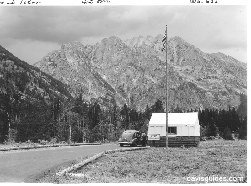 Temporary check-in station at the south entrance to the park. Grand Teton National Park, 1939.