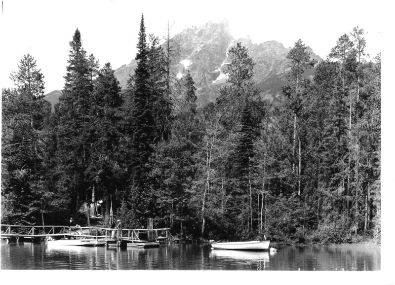 The boat landing on Jenny Lake. Above is Teewinot. Grand Teton National Park, 1937.