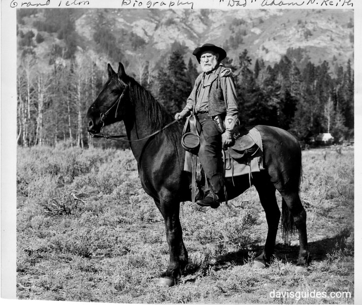 """""""Dad"""" Adam Keith, an old timer who ran a string of horses during the summers and wintered three hundred miles away each October in Powder River, Wyoming. Keith witnessed many incidents in the Johnson County War and served as an outfitter and back country ranger at Grand Teton.  Grand Teton National Park, 1930."""