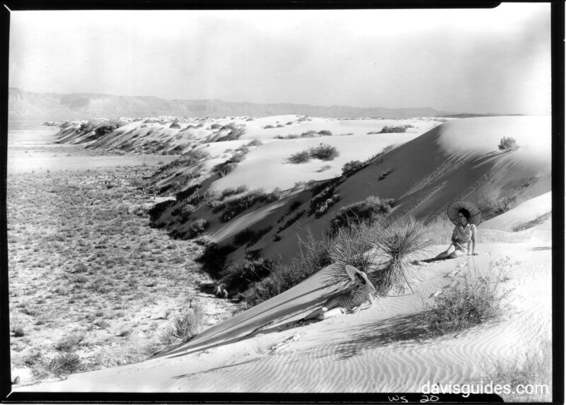 Two sunbathers in the dunes, Great Sand Dunes National Monument, undated.