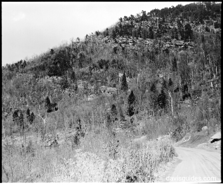 Looking up Newfound Gap Highway showing rock outcroppings, south of Indian Gap Hotel. Planned Great Smoky Mountains National Park, 1931.