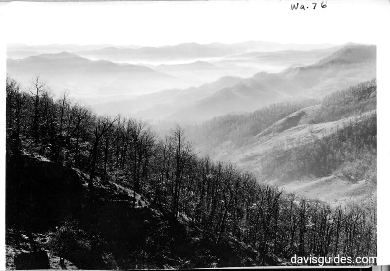 View south over the mountains of North Carolina from Cove Creek Gap, north of Waynesville, North Carolina. Taken from Great Smoky Mountains boundary. Planned Great Smoky Mountains National Park, 1931.