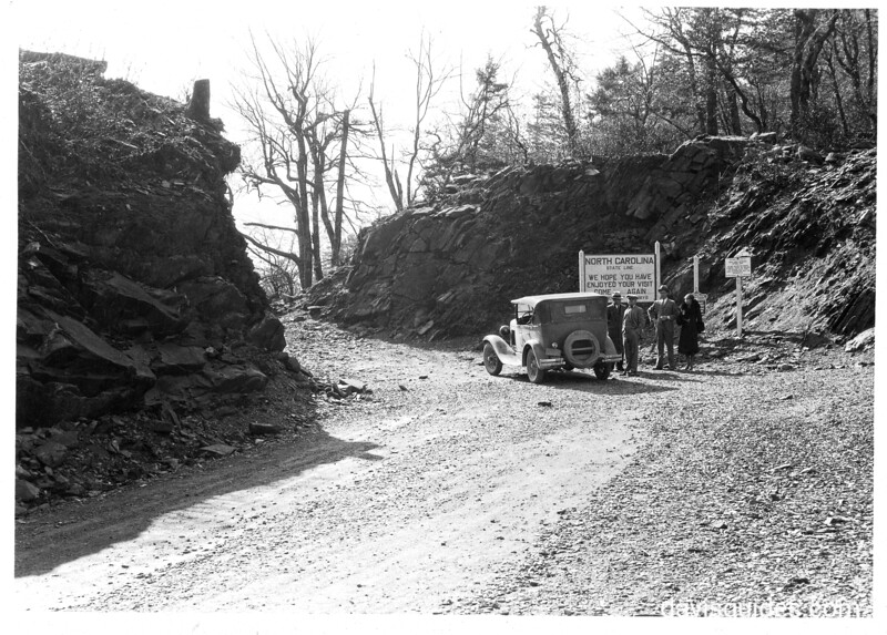 The summit of Newfound Gap Highway at the Tennessee - North Carolina state line. Planned Great Smoky Mountains National Park, 1931.