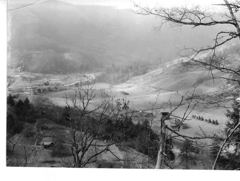 North Cove, North Carolina, from Cemetery Ridge on Upper Ravensford. Planned Great Smoky Mountains National Park, 1931.